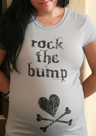 CafePress - Rock The Bump - Cotton Maternity T-shirt, Side Ruched Scoop Neck.